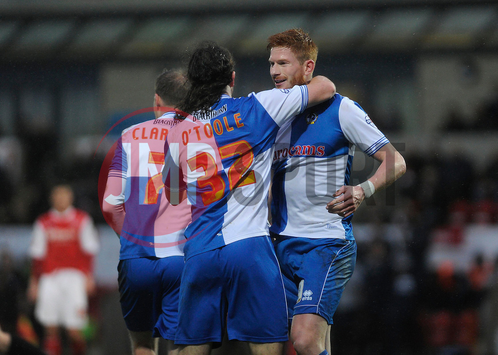 Bristol Rovers' John-Joe OToole celebrates his goal. - Photo mandatory by-line: Dougie Allward/JMP - Tel: Mobile: 07966 386802 14/12/2013 - SPORT - Football - Morecombe - Globe Arena - Morecombe v Bristol Rovers - Sky Bet League Two