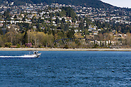 A fishing boat (Barkley Surge) in Burrard Inlet from Vancouver, British Columbia, Canada