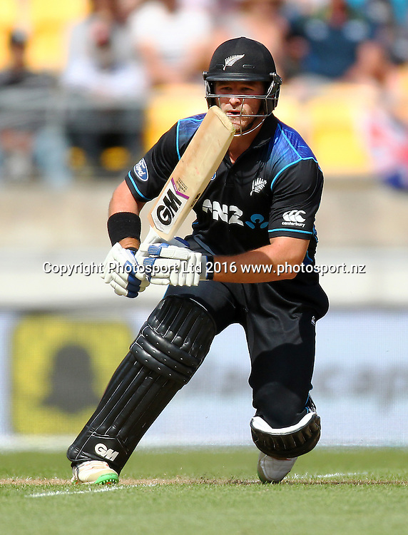 Corey Anderson bats. New Zealand Black Caps v Australia, 2nd match of the Chappell-Hadlee ODI Cricket Series. Westpac Stadium, Wellington, New Zealand. Saturday 6th February 2016. Copyright Photo.: Grant Down / www.photosport.nz