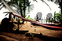 Hammock in front of Little Corn Beach & Bungalow on Little Corn Island, Nicaragua. Copyright 2017 Reid McNally.