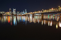 Portland Skyline, Big Dipper, and Hawthorne Bridge at Night<br /> <br /> Shot in Portland, OR, USA