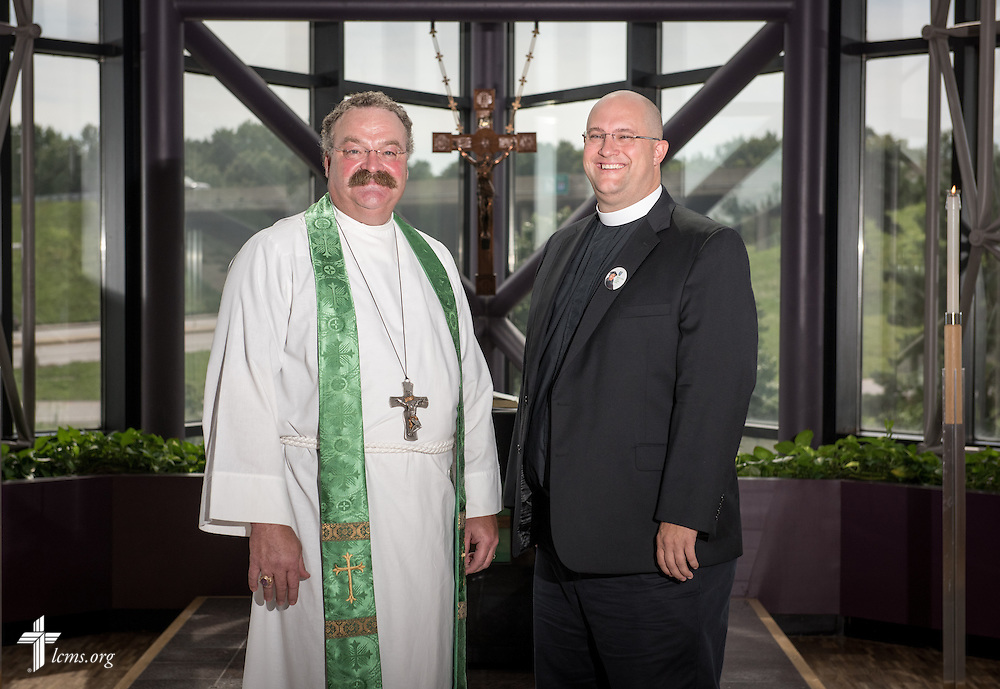 Portrait of the Rev. Dr. Matthew C. Harrison, president of The Lutheran Church–Missouri Synod, and the Rev. Marcus Zill, director of Campus Ministry and LCMS U in the Office of National Mission, in the International Center chapel of The Lutheran Church–Missouri Synod on Wednesday, Sept. 3, 2014, in Kirkwood, Mo. LCMS Communications/Erik M. Lunsford