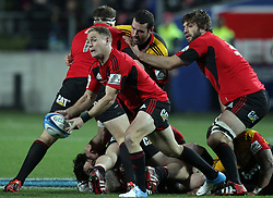 Crusaders' Andy Ellis clears the ball whilst playing the Chiefs in the semi-final Super Rugby match, Waikato Stadium, Hamilton, New Zealand, Friday, July 27, 2012.  Credit:SNPA / David Rowland