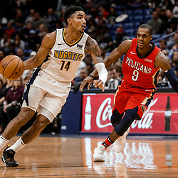 Dec 6, 2017; New Orleans, LA, USA; Denver Nuggets guard Gary Harris (14) drives past New Orleans Pelicans guard Rajon Rondo (9) during the second quarter at the Smoothie King Center. Mandatory Credit: Derick E. Hingle-USA TODAY Sports