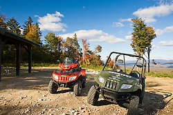 ATV's at a scenic overlook at Jericho Mountain State Park in Berlin, New Hampshire.  White Mountains.
