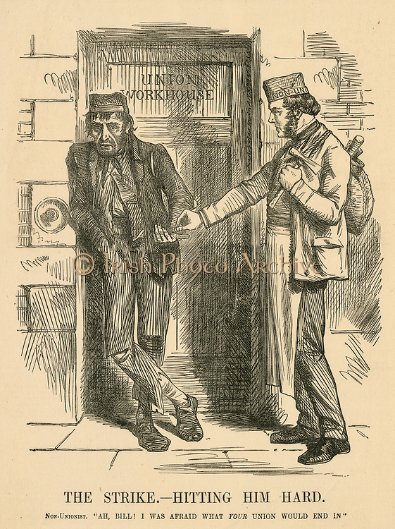 The result of striking - The Workhouse. Cartoon from 'Punch', London, 1861.