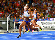 Dina Asher-Smith (GBR) wins the women's 100m in 10.85 in the European Championships in Berlin, Germany, Tuesday August 7, 2018. (Jiro Mochizuki/Image of Sport)