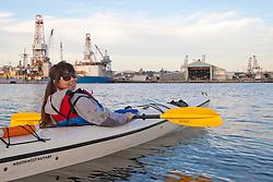 North America, United States, Washington, Seattle, Kayaking near Port of Seattle  MR