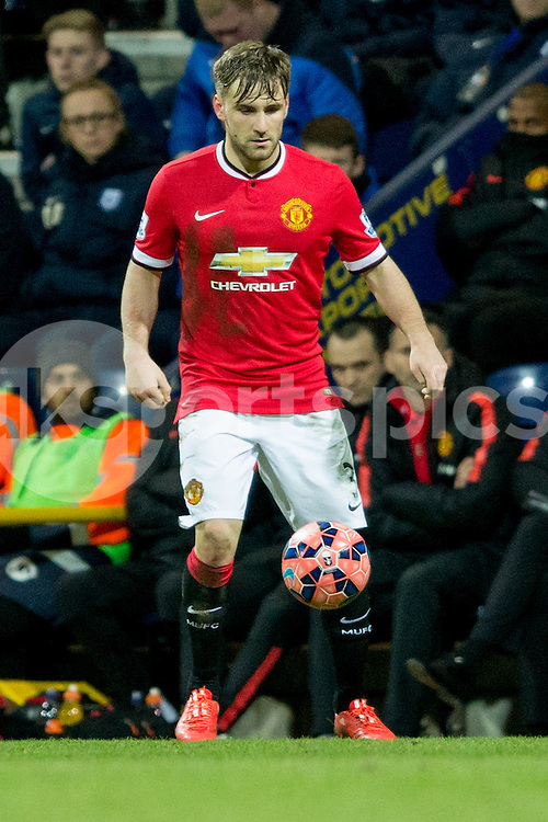 Manchester United's Luke Shaw during the The FA Cup match between Preston North End and Manchester United at Deepdale, Preston, England on 16 February 2015. Photo by James Williamson.