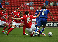 Photo: Rich Eaton.<br /> <br /> Barnsley v Cardiff City. Coca Cola Championship.<br /> <br /> 05/08/2006. Michael Chopra  of Cardiff is bought down in the box by Antony Kay
