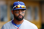 PITTSBURGH, PA - AUGUST 16: Matt Kemp #27 of the Los Angeles Dodgers looks on against the Pittsburgh Pirates during the game at PNC Park on August 16, 2012 in Pittsburgh, Pennsylvania. The Pirates won 10-6. (Photo by Joe Robbins) *** Local Caption *** Matt Kemp