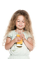 caucasian little girl portrait orange juice drink isolated studio on white background