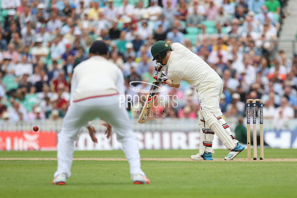 Chris Rogers of Australia hits four runs during the 1st day of the 5th Investec Ashes Test match between England and Australia at The Oval, London, United Kingdom on 20 August 2015. Photo by Phil Duncan.
