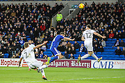 James Chester of Aston Villa clears a cross during the EFL Sky Bet Championship match between Cardiff City and Aston Villa at the Cardiff City Stadium, Cardiff, Wales on 2 January 2017. Photo by Andrew Lewis.
