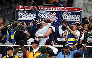 NEW ORLEANS, LA - FEBRUARY 3: Tom Brady #12 of the New England Patriots celebrates with teammates following Super Bowl XXXVI against the St. Louis Rams at the Louisiana Superdome on February 3, 2002 in New Orleans, Louisiana. The Patriots defeated the Rams 20-17. (Photo by Joe Robbins) *** Local Caption *** Tom Brady