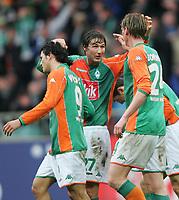 1:0 Jubel Nelson Valdez, Frank Baumann, Tim Borowski Bremen<br />Bundesliga SV Werder Bremen - FC Bayern Muenchen