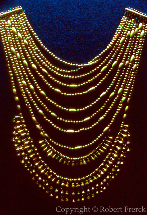 MEXICO, ZAPOTEC CULTURE, MONTE ALBAN gold necklace from the famous Tomb 7 treasure; from 1200-1521AD; site located near Oaxaca