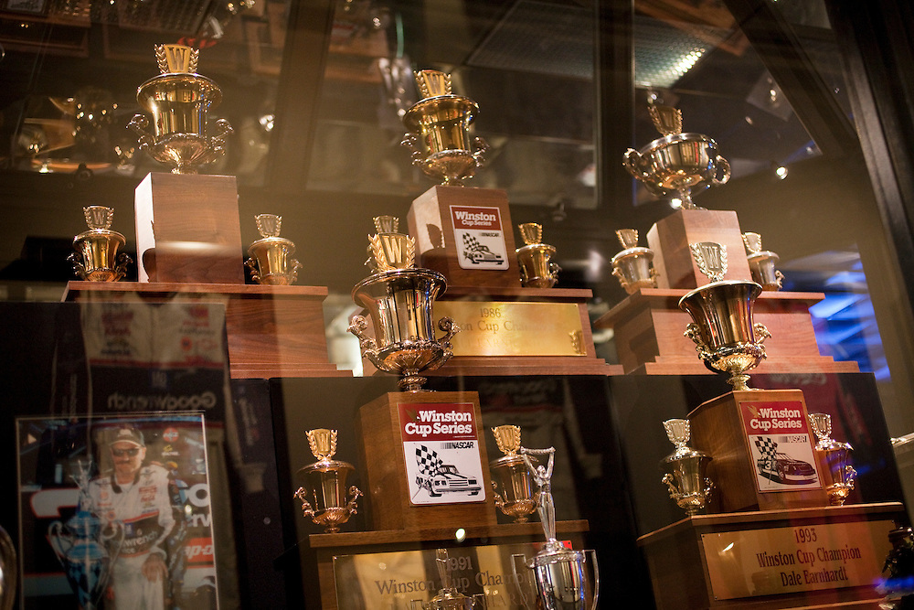 All six of Dale Earnhardt's Winston Cup Championship trophies are on display at Dale Earnhardt Inc. near Mooresville, N.C.
