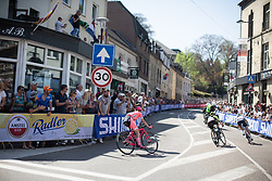 Katie Hall (USA) of Boels-Dolmans Cycling Team starts climbing the Cauberg during the Amstel Gold Race - Ladies Edition - a 126.8 km road race, between Maastricht and Valkenburg on April 21, 2019, in Limburg, Netherlands. (Photo by Balint Hamvas/Velofocus.com)