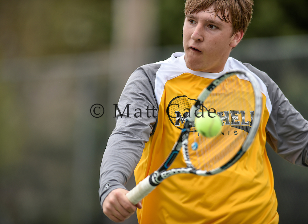 Mitchell's Jacob Dahme competes in No. 2 singles action during a dual against Brookings on Tuesday at Hitchcock Park in Mitchell. (Matt Gade/Republic)