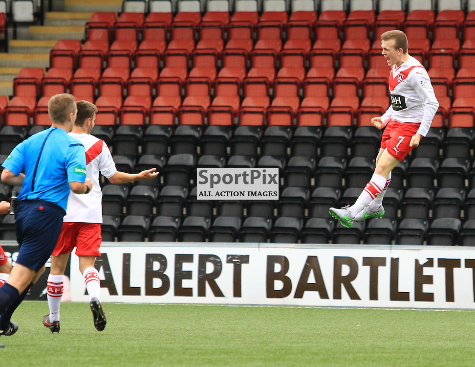 Airdrieonians Liam Watt's celebrates his opening goal during the Airdrieonians FC V Ayr United FC Scottish League One 19th September 2015 ©Edward Linton | SportPix.org.uk