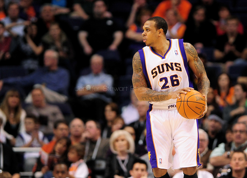 Jan. 8, 2012; Phoenix, AZ, USA; Phoenix Suns guard Shannon Brown (26) reacts on the court while playing against the Milwaukee Bucks at the US Airways Center. The Suns defeated the Bucks 109-93. Mandatory Credit: Jennifer Stewart-US PRESSWIRE...