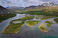 The headwater lands of Vietasätno river, Stora Sjöfallet National Park, Laponia UNESCO World Heritage Site, Greater Laponia rewilding area, Lapland, Norrbotten, Sweden