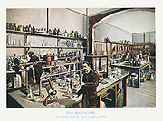 Vinolia Soap Company's London laboratory where raw materials and essential oils were tested.  Illustration c1905.