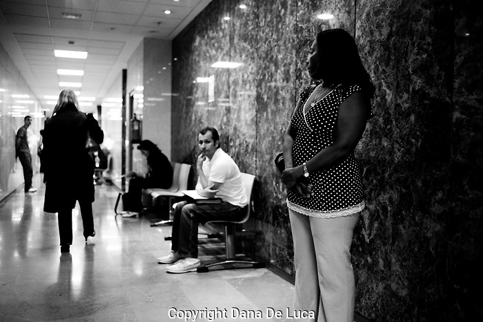 Violence against women court, n. 2, held by judge Sonia Chirino.People waiting outside the court room