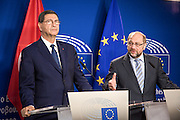 Tunisia's Prime Minister Habib Essid and European Parliament president Martin Schulz gives a press conference after their meeting at the EU Parliament in Brussels. In October Tunisia and EU will start to negotiate a free trade treaty (ALECA).