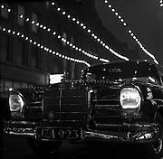 05/12/1960<br /> 12/05/1960<br /> 05 December 1960<br /> Mercedes car under Christmas lights on Grafton Street, Dublin.