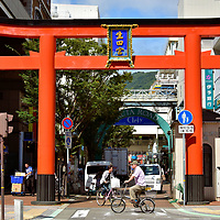 Red Torii of Ikuta Road in Kobe, Japan<br />