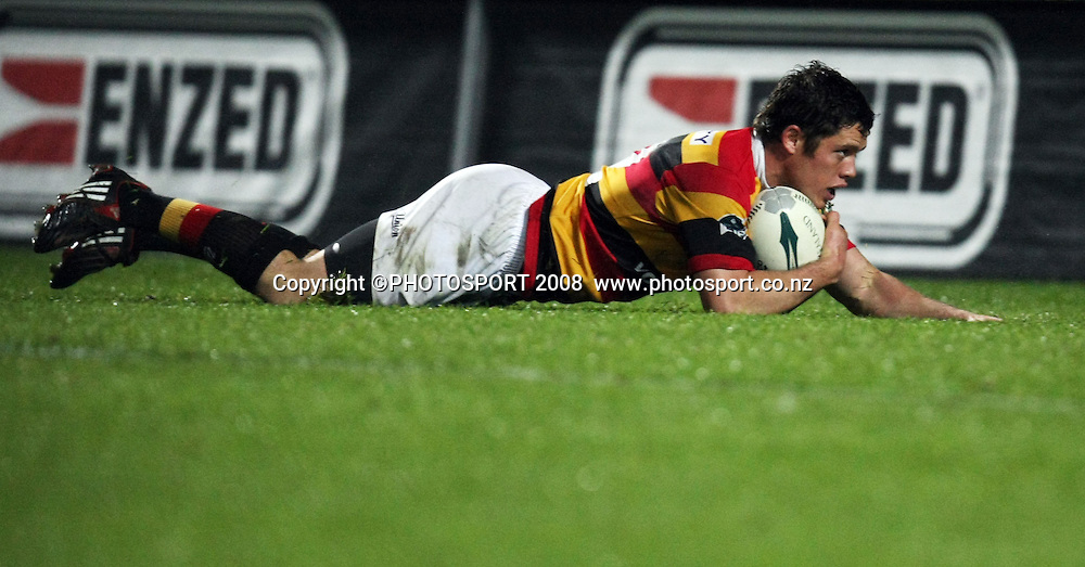 Waikato's Callum Bruce scores a second half try. Air NZ Cup, Waikato v Auckland, Waikato Stadium, Hamilton, Saturday 30 August 2008. Photo: Stephen Barker/PHOTOSPORT