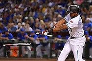 PHOENIX, ARIZONA - APRIL 08:  Socrates Brito #30 of the Arizona Diamondbacks breaks his bat while hitting a single in the first inning against the Chicago Cubs at Chase Field on April 8, 2016 in Phoenix, Arizona.  (Photo by Jennifer Stewart/Getty Images)
