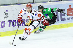 27.02.2015, Hala Tivoli, Ljubljana, SLO, EBEL, HDD Telemach Olimpija Ljubljana vs HC TWK Innsbruck, 6. Qualification Round, in picture Kenneth MacAuley (HC TWK Innsbruck, #26) vs Matej Hocevar (HDD Telemach Olimpija, #16) during the Erste Bank Icehockey League 6. Qualification Round between HDD Telemach Olimpija Ljubljana and HC TWK Innsbruck at the Hala Tivoli, Ljubljana, Slovenia on 2015/02/27. Photo by Morgan Kristan / Sportida