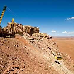 082411       Brian Leddy.The Skyline Mine bucket makes it's way to the top of Oljato Mesa on Wednesday.