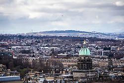 The Forth Road Bridge and the Forth Rail Bridge, and Edinburgh as seen from the Edinburgh Castle Esplanade.