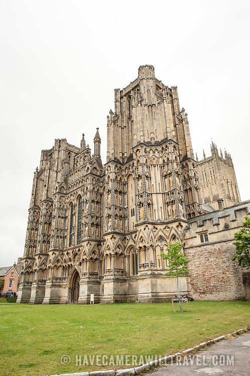 Exterior of Wells Cathedral in Wells, Somerset, United Kingdom. Some of the building dates back to the 10th Century.