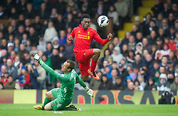 12.05.2013, Craven Cottage, London, ENG, Premier League, FC Fulham vs FC Liverpool, 37. Runde, im Bild Liverpool's Daniel Sturridge scores the third goal against Fulham, his hat-trick, during during the English Premier League 37th round match between Fulham FC and Liverpool FC at the Craven Cottage, London, Great Britain on 2013/05/12. EXPA Pictures © 2013, PhotoCredit: EXPA/ Propagandaphoto/ David Rawcliffe..***** ATTENTION - OUT OF ENG, GBR, UK *****