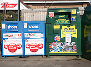 Shoe and Book Bank recycling collection containers at a Tesco store, UK