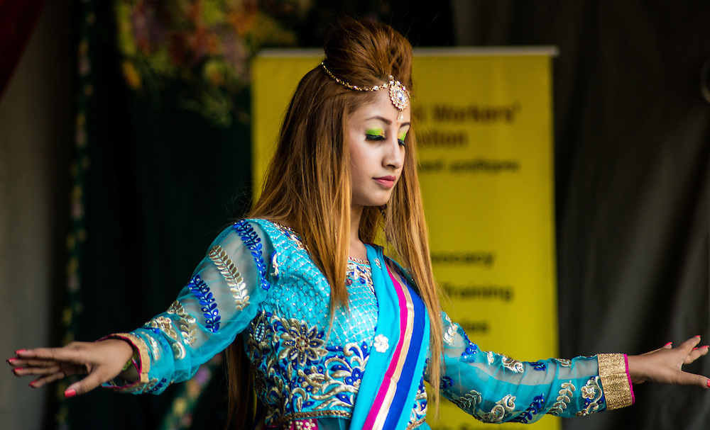 Performances by leading South Asian dance company Akademi at the Camden Mela, held in Coram's Fields, Bloomsbury, London.