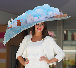 LIVERPOOL, ENGLAND - Thursday, April 8, 2010: A model wearing a specially comissioned Liverpool Day Hat during the Style 2010 fashion show during the opening day of the Grand National Festival at Aintree Racecourse. (Pic by David Rawcliffe/Propaganda)