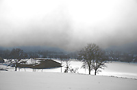 View across to a barn in a snow-covered field on a foggy day.