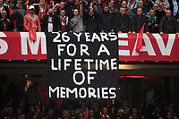 Football - Premier League 2012 / 2013 - Manchester United vs. Swansea<br /> A banner thanks Alex Ferguson, manager of Manchester United at Old Trafford