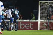 Tranmere Rovers midfielder Kieron Morris (7) scores a goal from open play 1-2 during the The FA Cup match between Wycombe Wanderers and Tranmere Rovers at Adams Park, High Wycombe, England on 20 November 2019.