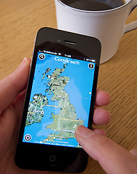 Using Google Earth satellite maps on an Apple iphone 4G smart phone