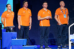 Ass coach Branko Mitrovic of Netherlands (2vl), Manager Hans Nieuwenburg of Netherlands (r) during Netherlands vs Malta on LEN European Aquatics Waterpolo January 21, 2020 in Duna Arena in Budapest, Hungary