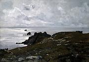 Pointe du Raz (Finistere), 1884. Oil on canvas. Emmanuel Lansyer (1835-1893) French landscape painter.  France Brittany Seascape Water Sky Cloud Grey Rock Horizon Distance