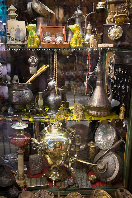 Metal objects coffee pot and copper in antique shop in The Grand Bazaar, Kapalicarsi, great market in Beyazi, Istanbul, Turkey