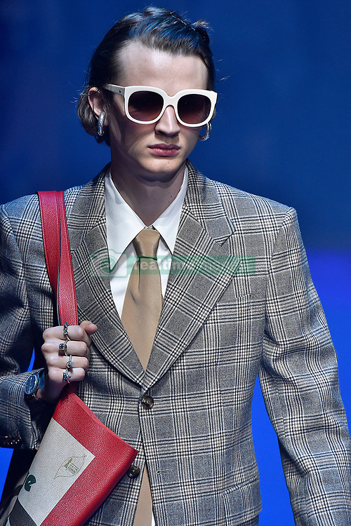 Model Jan-Willem de Man walks on the runway during the Gucci Fashion Show during Milan Fashion Week Spring Summer 2018 held in Milan, Italy on September 20, 2017. (Photo by Jonas Gustavsson/Sipa USA)